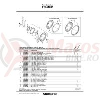 Brat pedalier Shimano FC-M431 stanga 175 mm agintiu