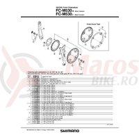 Brat pedalier Shimano FC-M530 stanga 170 mm argintiu