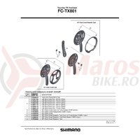 Brat pedalier Shimano FC-TX801 stanga 170 mm argintiu