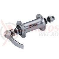 Butuc fata Union 512QR aluminiu argintiu ax 9mm 36h 100/108-141 mm cu QR C