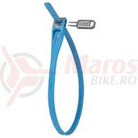 Cablu securitate HIPLOK Z-LOK, 420 mm, Albastru, Cheie
