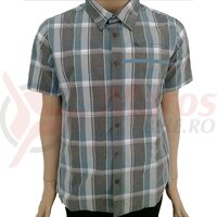 Camasa Shimano transit check button up short sleeve aegean blue