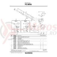 Capac pedale Shimano PD-M980 Dreapta + suruburi de fixare Torx/M5