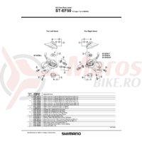 Capac superior Shimano ST-EF50 stanga argintiu & suruburi de fixare M3x5
