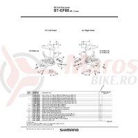 Capac superior Shimano ST-EF60 7v argintiu & suruburi de fixare M3x5