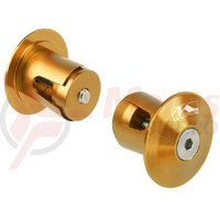 Capete ghidon M-wave 17.2-21 mm aluminiu gold/orange anodizat