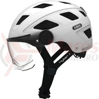 Casca bicicleta Abus Hyban Clear Visor Cream white
