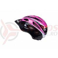 Casca Ciclism B-RACE S-291 Negru/Roz Led Inclus