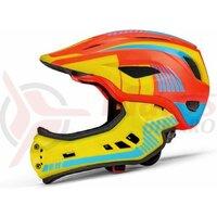 Casca copii Rockbros Full-Face pentru Downhill portocaliu/galben/albastru