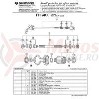 Caseta body Shimano FH-7403 completa incl. garnitura de praf dreapta