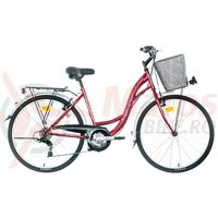 Bicicleta Neuzer dama City 6v JD - MB - 26'' Rosu Rubin/Alb