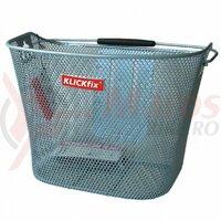 Cos bicicleta fata Basket Klickfix silver close-meshed, 16 Liter