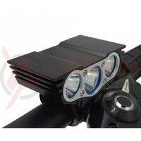 Far Eastpower EBL303D cu acumulatori 3Leduri CREE XM-L U2 1800 Lumeni 4 functii
