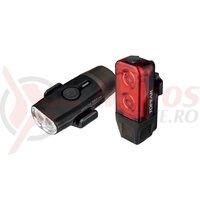 Faruri Set Topeak PowerLux Combo TMS098, Fata HeadLux 100Usb, Spate TailLux 25 Usb - Negru-Rosu
