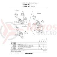 FD-M780 suruburi si piulite de fixare pentru placa E-Type Shimano