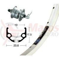 Roata fata 28x1.75 hub dyn DH3N72 silv.SSP 36h Rigida Zac 19 silver Niro-spoke
