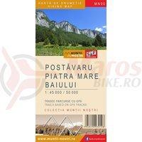 Harta de drumetie muntii Postavaru Piatra mare Baiului 1:45 000/50 000