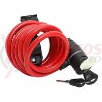 Incuietoare cablu CROSSER CL-369 10x1800mm rosu - cu suport