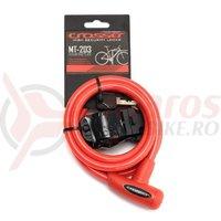 Incuietoare cablu Crosser MT 203 cheie 10mmx1800mm rosie
