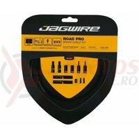 Kit bowden frana Jagwire Road Pro (PCK200) diametru 5mm, Keb-SL / STS-PS Pro Polished, negru, 3000mm(include toate piesele necesare montarii) AM