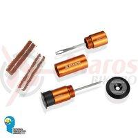 Kit Granite pentru reparatii anvelope tubeless, se monteaza in ghidon, portocaliu capac negru, AM