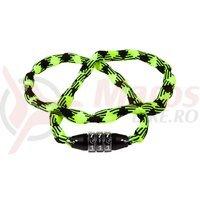 Lacat Cube RFR Chain Combination Lock Style CMPT galben neon/negru 3x3x1200mm