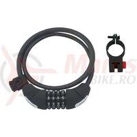 Lacat anti-furt Force Lux spirala cod 85cm/10mm cu suport negru