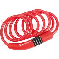 Lacat spiral cu cod Kross KZS 250 6 mm x900 mm red