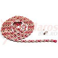 Lant KMC X10 color rosu/arginitu 112 zale
