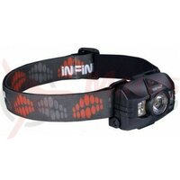 Lanterna frontala Infini Hawk 100, 1led alb 3Watt +2leduri albe 0,5Watt +2leduri rosii, plastic, bateri 3AAA incluse 7 functii, neagra