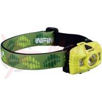 Lanterna frontala Infini Hawk 100, 1led alb 3Watt +2leduri albe 0,5Watt +2leduri rosii, plastic, bateri 3AAA incluse 7 functii, verde