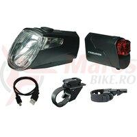 Lumini set fata/spate LED Trelock I-go Eco LS 360/ 720 black, 25 lux, USB