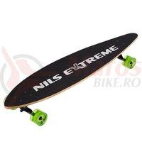 Longboard lemn Nils Extreme 103x25cm, negru-verde