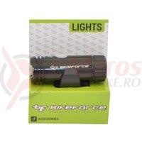 Lumina fata BikeForce Blinder negru 3 functii USB
