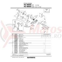 Maneta de tensionare ambreiaj pt Shimano RD-M985 & surub M2.6x6