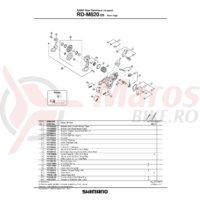 Maneta de tensionare ambreiaj Shimano RD-M820 & placa de fixare