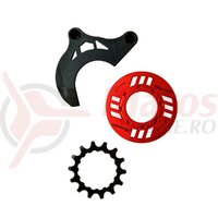 MIRANDA chainguard-set for e-bike incl. chainring 14 teeth and chainguide for GEN2, red (PU = 1 set)
