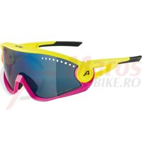 Ochelari Alpina 5W1NG CM+ frame Pineapple-Magenta, lenses Blue mirrored