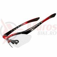 Ochelari ROCKBROS frameless, photochromic UV400, negru-rosu