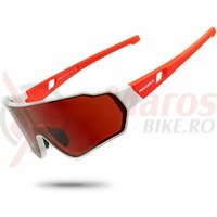 Ochelari ROCKBROS polarizati, protectie UV400, alb-rosu