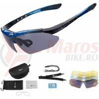 Ochelari ROCKBROS polarizati UV400 cu 5 lentile, negru-albastru