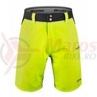 Pantaloni Force Blade MTB cu sub-pantaloni cu bazon Negru/Fluo
