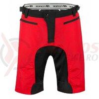 Pantaloni Force MTB-11 cu sub-pantaloni cu bazon Rosii