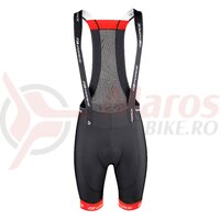 Pantaloni scurti cu bazon si bretele Force B45 negru/rosu