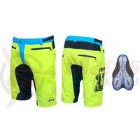 Pantaloni scurti Force MTB-11 cu interior detasabil galben fluo