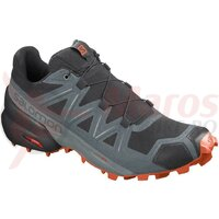 Pantofi alergare barbati Salomon SPEEDCROSS 5 Black/Stormy weather/Red Orange