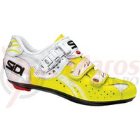 Pantofi sosea Sidi Genius 5-Fit alb/galben fluo vernice
