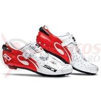 Pantofi sosea Sidi Wire Carbon alb/rosu