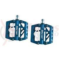 Pedale Azonic 420 flat CNC-AL rulmenti ax Cr-Mo albastre