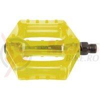 Pedale BMX polycarbonat transparent galben M-Wave